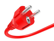 Red electric plug Stock Photo