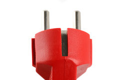Red electric plug Royalty Free Stock Photography