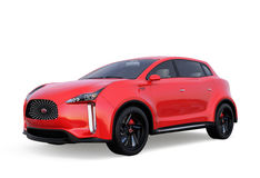 Red electric SUV concept car isolated on white background Royalty Free Stock Photo
