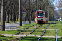 Red electric tram Royalty Free Stock Photos