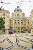 Red electric tram in Vienna, Austria Stock Photography