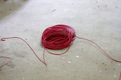 Red  electric wire Stock Photos