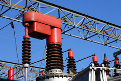 Red electrical component in a power plant to automatically vary Royalty Free Stock Photos