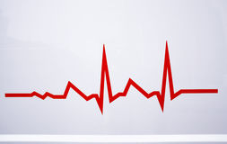 Red electrocardiogram line. Danger life line royalty free stock photo