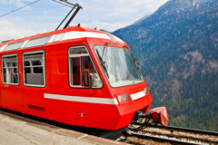 Red eleectric train, Switzerland 1 Stock Images