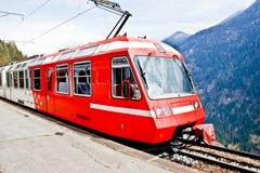 Red eleectric train, Switzerland 2 Stock Photo