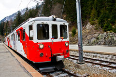 Red eleectric train, Switzerland 3 Stock Photos