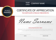 Red Elegance horizontal certificate with Vector illustration ,white frame certificate template  Stock Photography