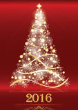Red elegant 2016 background with Christmas tree. Royalty Free Stock Photo