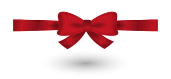Red elegant bow. Red elegant gradient bow on white background Stock Photos