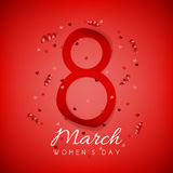 Red elegant greeting card for Women`s Day Stock Image