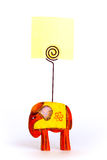 Red elepfant card holder assesory. With yellow blank Stock Images