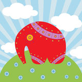 Red elephant on the  beautiful background. Vector Illustration Stock Photos