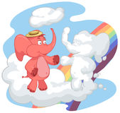 Red elephant greets with a cloud. The red elephant greets the cloud. The cloud has the form of an elephant Royalty Free Stock Photos