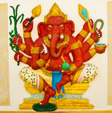 Red Elephant Statue,God in Ramayana. Stock Images