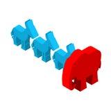 Red Elephants against blue donkey. Symbols of USA political part Stock Image