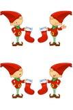 Red Elf - Holding Stocking Royalty Free Stock Image