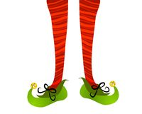Red Elf Stockings Green Shoes. A clip art illustration of a pair of elf legs with red striped stockings and green shoes complete with bells, isolated on white Stock Photos