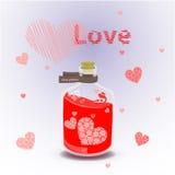 Red elixir of love. illustration on  background. Valentine s day. red elixir of love. illustration on  background. FOR USE design, decoration, printing, smart Stock Image
