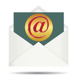 Red Email Sign On Gold Plate and Opened White Envelope Royalty Free Stock Photography
