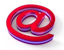Red email sign on white background Stock Photography