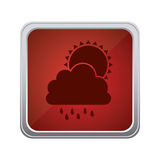 Red emblem cloud rainning with sun icon. Illustraction Stock Photos