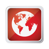 Red emblem earth planet icon. Illustraction design Royalty Free Stock Images