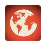 Red emblem earth planet icon. Illustraction design Royalty Free Stock Photos