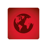 Red emblem earth planet icon. Illustraction design Royalty Free Stock Photo