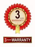 Emblem of red color with the text of three-year warranty. Red emblem, gold ribbon and text three-year warranty Stock Images