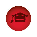 Red emblem graduation hat icon. Illustraction design image Royalty Free Stock Photo