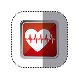 Red emblem heartbeat icon. Illustration design Royalty Free Stock Photography