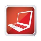 Red emblem laptop icon Stock Photos