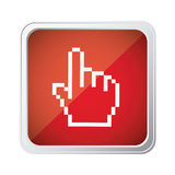 Red emblem mouse hand cursor icon. Illustraction design Stock Photos