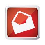 Red emblem open message envelope icon. Illustraction design image Stock Image