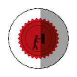 red emblem person knocking punching bag Royalty Free Stock Images