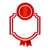 Red emblem with ribbon decoration icon. Illustraction design Royalty Free Stock Image