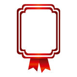 Red emblem with ribbon decoration icon. Illustraction design Royalty Free Stock Photography