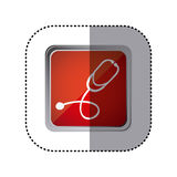Red emblem stethoscope instrument icon. Illustration design Stock Image