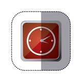 Red emblem wall clock time. Illustration design Stock Images