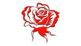 Embossed rose 3d illustration. Red embossed rose, 3d illustration, isolated stock illustration