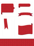 Red embossed tabs. Decorative red embossed tabs, ribbons and border royalty free illustration