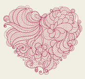Red embroidered lace heart with floral swirls Royalty Free Stock Photography