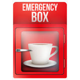 Red emergency box with cup of coffee Stock Image