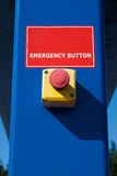 Red emergency button. On blue culomn Stock Images