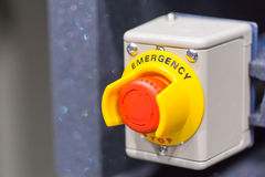 The red emergency button or stop button for Hand press. STOP Button for industrial machine Stock Photo