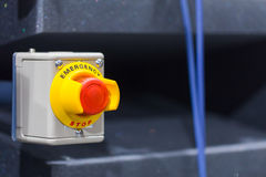 The red emergency button or stop button for Hand press. STOP Button for industrial machine Royalty Free Stock Photography
