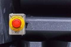 The red emergency button or stop button for Hand press. STOP Button for industrial machine Royalty Free Stock Image