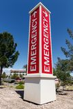 Red Emergency Entrance Sign for a Local Hospital royalty free stock photo