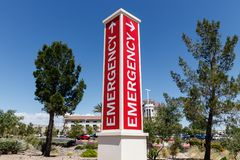 Red Emergency Entrance Sign for a Local Hospital stock photo